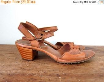 70s Brown High Heel Sandals Vintage Peep Toes Buckled Sandals Sky High Wooden Heels Sandals Boho Hippie Shoes Vintage 1970s Womens 8