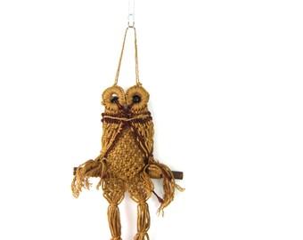 Macrame Wall Art Hanging OOAK Handmade Wall Decor Animal Owl Bird Tree Branch and Wooden beads Folk Craft Boho Home Decor