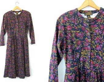 vintage long floral Dress 90s Button Front Eddie Bauer Peasant Dress Purple Flower Print Fall Boho Prep Jersey Dress Size Small Petite