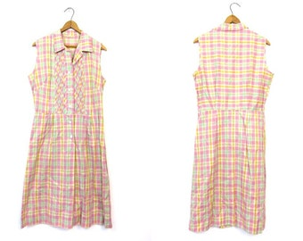 Checkered Plaid 50s Dress Pink Sleeveless House Day Midi Dress Button Front Pastel 1950s Sundress Yellow Mint Summer Vintage Medium Large