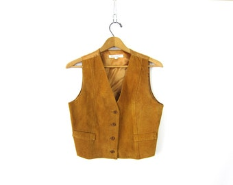 80s tan suede leather vest vintage Cowgirl 1980s western Sleeveless jacket Button Up Biker vest Hipster top women's small medium