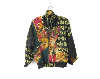 Retro 80s Floral zipper jacket Preppy Spring Coat Windbreaker Urban Street Hipster Patchwork Slouchy Women's size Small
