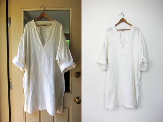 Thin White Cotton Gauze Mens Dashiki Caftan Shirt Dress Indian