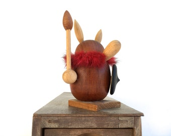 Mid Century Teak Viking~ Danish teak retro figurine wooden handcraft Viking /Gonk~ Dansk modern 60s
