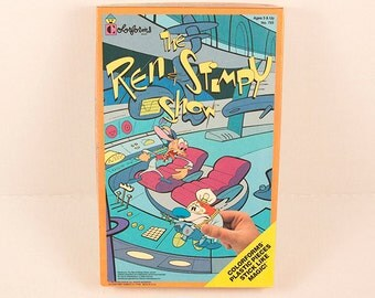 The Ren and Stimpy Show Colorforms 1992 Nickelodeon Nicktoons Play Set Plastic Pieces Stick Like Magic No. 755 Ages 3 and Up