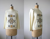 vintage 1960s sweater / 60s folk sweater / 60s cream yellow brown sweater / embroidered boho sweater / size m med medium