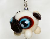 Adorable Georgia Pug Lampwork Glass Necklace and Cell Charm