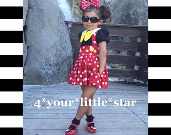 Disney Inspired Mickey Minnie Outfit includes Peter Pan Collar blouse with Suspender skirt toddlers, girls  6/12 m up to girls 10/12