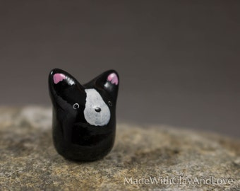 Little Boston Terrier Dog - Terrarium Figurine Miniature Polymer Clay Animal - Hand Sculpted