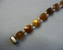 Faceted Sunstone and Fresh Water Pearl Magnetic Clasp Bracelet