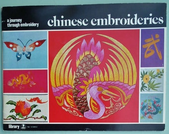 Chinese Embroideries Vintage Embroidery Book 1970s 70s needlework book designs butterflies dragons