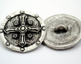 Shield & Cross Buttons in Fine Pewter by Treasure Cast Pewter - Set of TWO