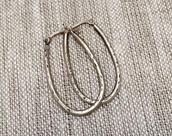 Stirrup Silver Long Hoop Earrings