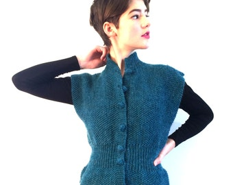 BASIA DESIGNS Classic Hand Knit Peplum Vest in Turquoise - Free US Shipping