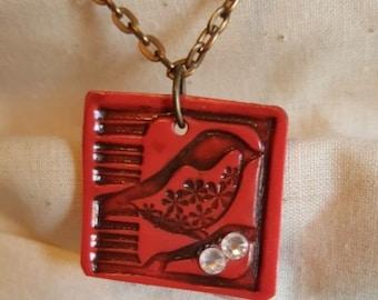 Coral/Brown Rustic Bird Necklace