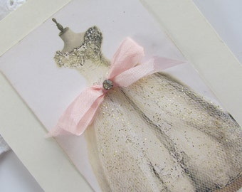 Wedding Card, Embellished Dress Card,  Handmade Card,Unique Blank Greeting Card, Shabby Card , Mixed Media Art Card