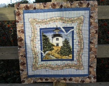 Lighthouse Quilted Wall Hanging Beach House Wall Decor Seaside Mini Quilt  Made in USA