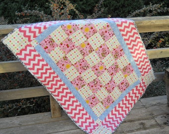 Pink Polka Dots Baby Girl Patchwork Quilt Blue Daisy Pink Chevron Stripes Vibrant Patchwork Quilt Heirloom Quilt Made in USA