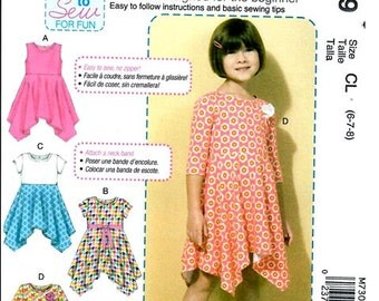 GIRL CLOTHES PATTERN / Make Knit Pullover Dress/ Beginning Sewing - Easy / Size 2 - 5 Or Girl Size 6 - 8