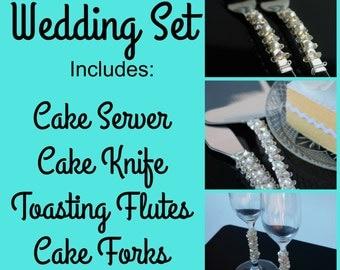 Custom wedding cake server set flutes forks champagne glasses wedding cake knife cake cutter Swarovski crystal wedding table decor party