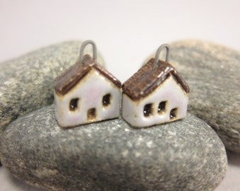 READY TO SHIP...Miniature House Charms in Stoneware...Set of 2...Pale Lavender