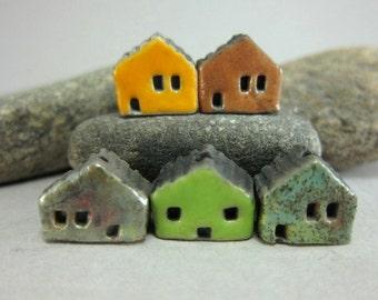 5 Saggar Fired Miniature House Beads...Yellow Brown Copper Green Grass Green Forest Green