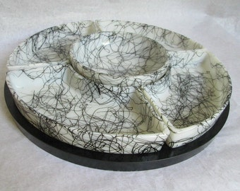 Hazel Atlas Drizzle String Black on White Scribble Lazy Susan Set