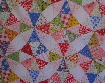 Vintage Twin Size Flat Sheet Bright Patchwork Print NOS