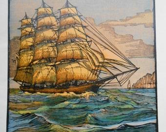 Clipper, Sailing Ship print, tea clipper, tall ships, 1936 Vintage nautical art, wall decor, Sea Witch