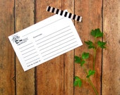 Mason Jar Recipe Cards - Recipe Card Set - Floral Bridal Shower Recipe Cards - Printed Recipe Cards - Black & White - Boho Daisy Recipe Card