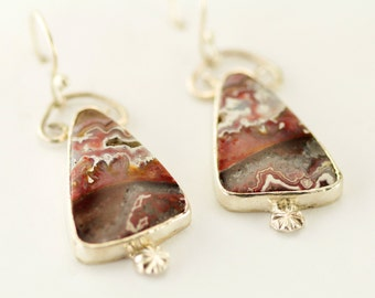 Crazy Lace Agate Earrings - Sterling Mexican Crazy Lace Agate Dangles -