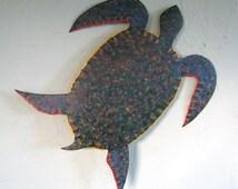 Sea Turtle Metal Wall Art Sculpture Ocean Beach House Wall Decor Bright Beautiful Green Blue Bathroom Wall Art  Sea Life 13 x 12