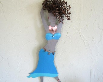 Metal Wall Art Belly Dance Sculpture Recycled Metal Exotic Dancing Wall Decor Brunette Aqua Blue 8 x 20 Made to Order