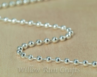 100 High Quality 20 inch Shiny Silver Plated Ball Chain 2.4 mm with Lobster Clasp. (15-40-306)