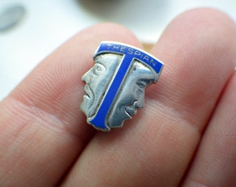 Vintage Blue Enamel Sterling Silver Comedy/Tragedy Thespians Pin