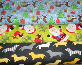 WEINIE DOGS #4  (Dachshund, Dox, Doxie, Wienie)  Fabrics, Sold INDIVIDUALLY not as a group, by the Half Yard