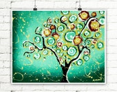 Tree Print, Tree Art, Tree Wall Art, Green Tree of Life, Whimsical Tree, Whimsical Art, Single Tree, One Tree, Signed Print