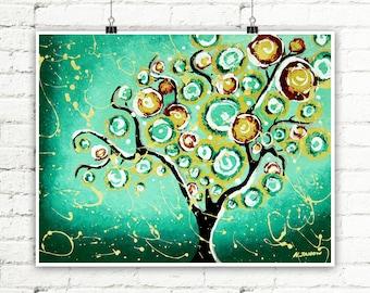 Tree Print Green Wall Art, Tree of Life Whimsical Art, Woodland Living Room Decor