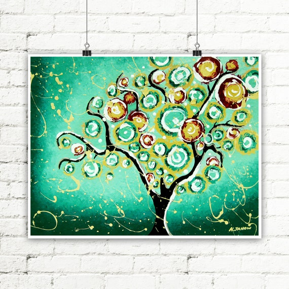 Tree Print Green Wall Art, Tree of Life Whimsical Art, Woodland Living Room Decor