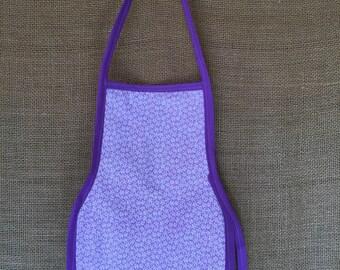 Toddler Apron (Montessori Style,Velcro closure, reversible, tiny purple flowers)