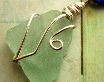 Irish Sea Glass Necklace.  Seafoam Beach Glass. Cobalt Chain. Beauty & the Beach