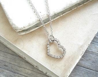 Open Heart Necklace. Rhinestone Heart Necklace. Vintage Silver Sideways Heart Layering Necklace. Simple Gift. PreciousPastimes.