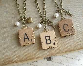 Upcycled Jewelry - Scrabble Letter Charm Necklace. Eco Friendly Personalized Letter A B C D E F G H I L N O P Q R S T U V W X Y Z Necklace.