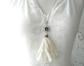 Typewriter Key Necklace. Letter E Necklace. Vintage Typewriter Key Jewelry. Long Sari Silk Tassel Boho Beaded Necklace. Eco Friendly Gift.