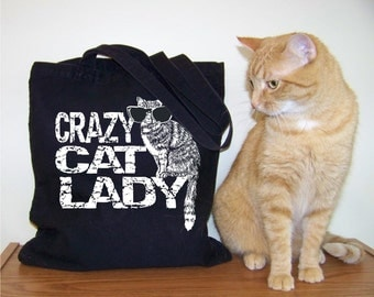 Cat tote, tote bag canvas, cat lady, cat lover gift, bag envy, gift for mom, girlfriend gift, RCTees, Abby Cat, cat lover, crazy cat lady