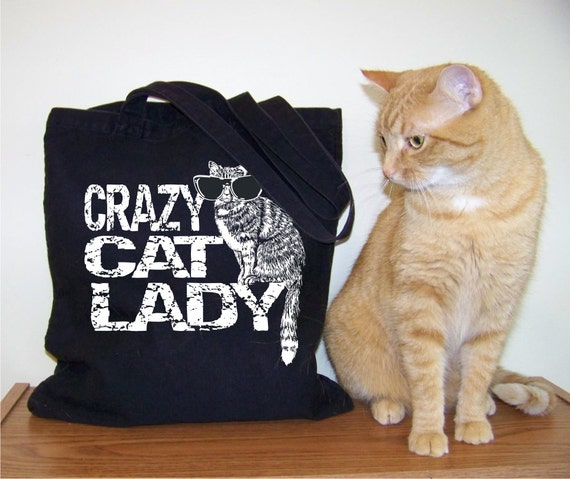 Canvas tote bag, Cat tote, Crazy Cat Lady, gift for her, gift for girlfriend, RCTees, Abby Cat, gift ideas, cat purse, under 25