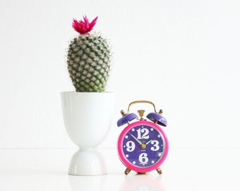 Vintage Neon Pink and Purple Sheffield Alarm Clock / Colorful Retro Alarm Clock