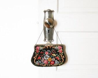 Vintage Floral Needlepoint Purse / Antique Petit Point Handbag