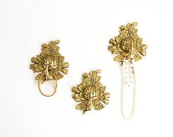 Vintage Golden Brass Rose Flower Wall Hooks / Hollywood Regency Floral Hooks