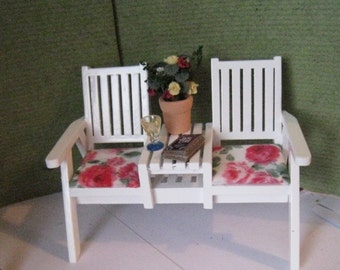 Dollhouse  garden chair, garden chair, white lawn chair, , garden ornament, mini lawn chair,  twelfth scale dollhouse miniature